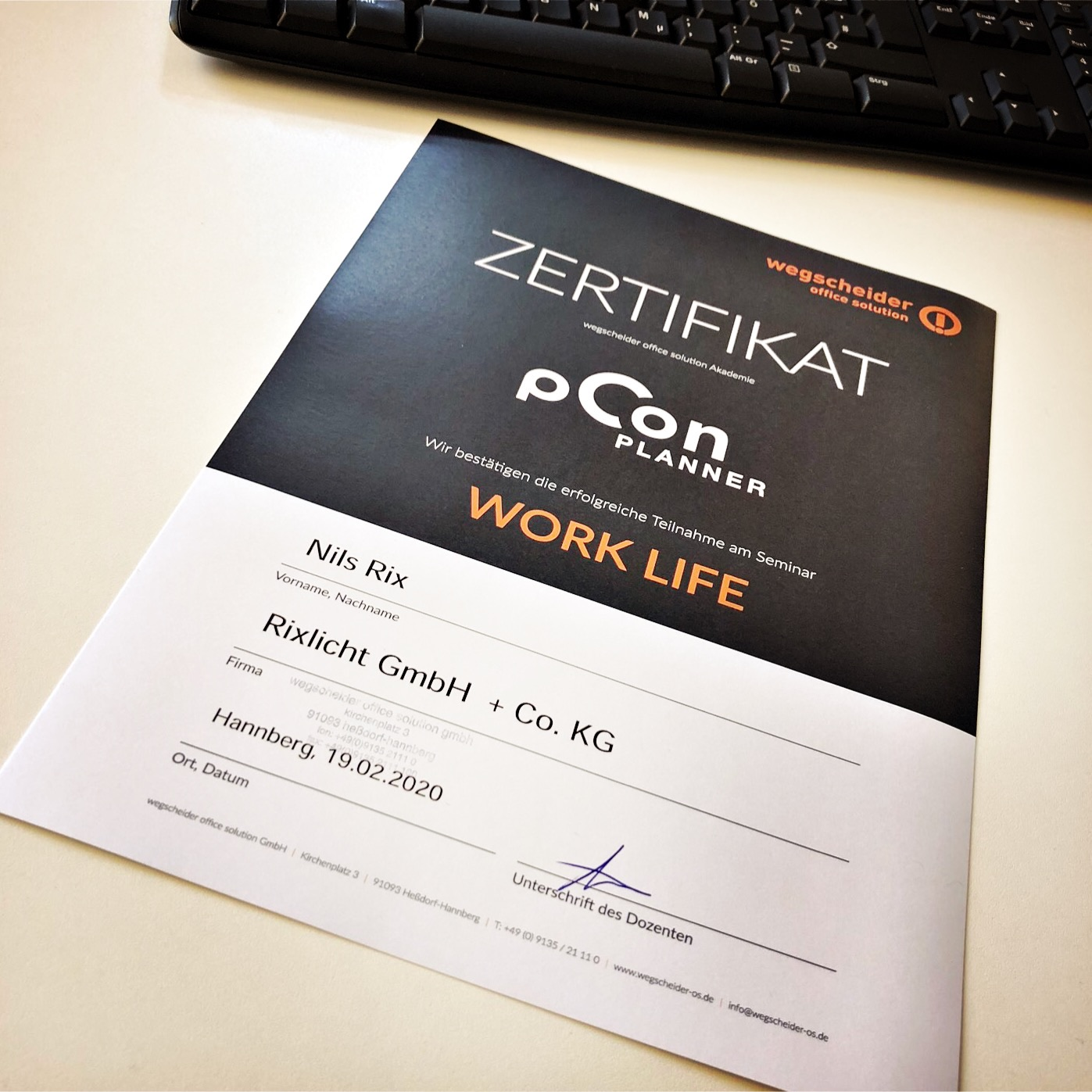 pCon.planner Zertifikat